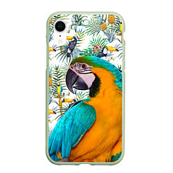 Чехол iPhone XR матовый Летний попугай цвета 3D-салатовый — фото 1