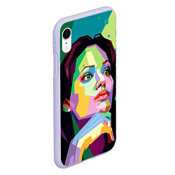 Чехол iPhone XR матовый Angelina Jolie: Art цвета 3D-светло-сиреневый — фото 2