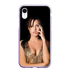 Чехол iPhone XR матовый Angelina Jolie цвета 3D-светло-сиреневый — фото 1
