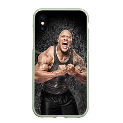 Чехол iPhone XS Max матовый Dwayne Johnson цвета 3D-салатовый — фото 1
