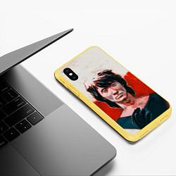 Чехол iPhone XS Max матовый Молодой Цой цвета 3D-желтый — фото 2