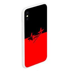 Чехол iPhone XS Max матовый АлисА: Черный & Красный цвета 3D-белый — фото 2