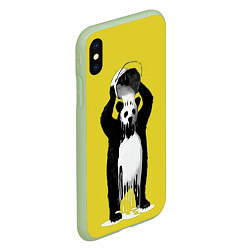 Чехол iPhone XS Max матовый Панда-маляр цвета 3D-салатовый — фото 2