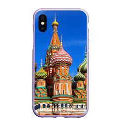 Чехол iPhone XS Max матовый Храм Василия Блаженного цвета 3D-светло-сиреневый — фото 1