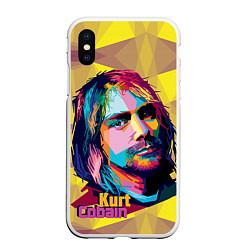 Чехол iPhone XS Max матовый Kurt Cobain: Abstraction цвета 3D-белый — фото 1