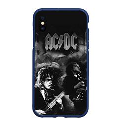 Чехол iPhone XS Max матовый AC/DC цвета 3D-тёмно-синий — фото 1