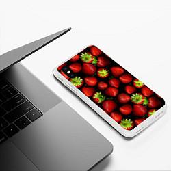 Чехол для iPhone XS Max матовый с принтом Клубничка, цвет: 3D-белый, артикул: 10065069205907 — фото 2