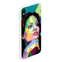 Чехол iPhone XS Max матовый Angelina Jolie: Art цвета 3D-белый — фото 2
