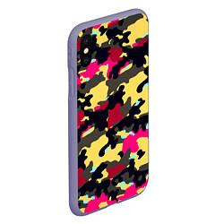 Чехол iPhone XS Max матовый Камуфляж: желтый/черный/розовый цвета 3D-серый — фото 2