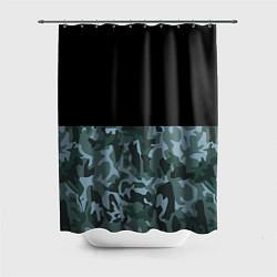 Шторка для душа Камуфляж: черный/синий цвета 3D — фото 1