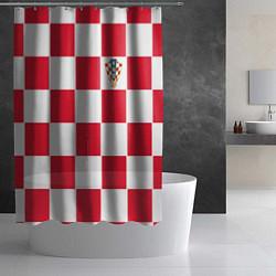 Шторка для душа Сборная Хорватии: Домашняя ЧМ-2018 цвета 3D-принт — фото 2