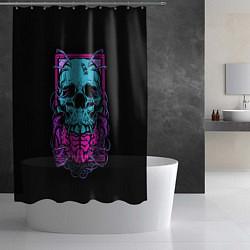 Шторка для душа Кислотный череп цвета 3D — фото 2