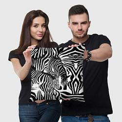Подушка квадратная Полосатая зебра цвета 3D-принт — фото 2
