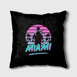 Подушка квадратная Майами цвета 3D-принт — фото 1