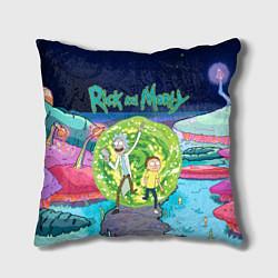 Подушка квадратная Путешествия Рика и Морти цвета 3D-принт — фото 1