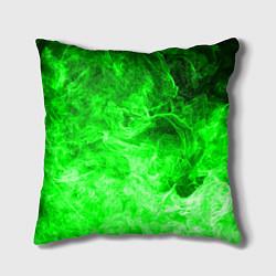 Подушка квадратная ОГОНЬ GREEN NEON цвета 3D-принт — фото 1