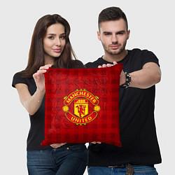 Подушка квадратная Manchester United цвета 3D-принт — фото 2