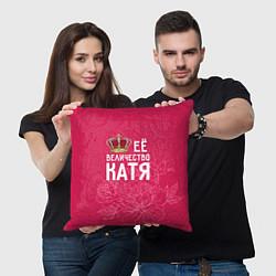 Подушка квадратная Её величество Катя цвета 3D-принт — фото 2