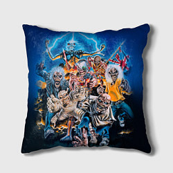 Подушка квадратная Iron Maiden: Skeletons цвета 3D-принт — фото 1