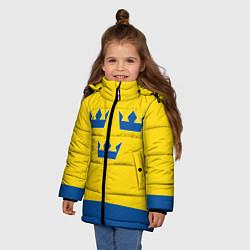 Куртка зимняя для девочки Сборная Швеции: домашняя форма цвета 3D-черный — фото 2