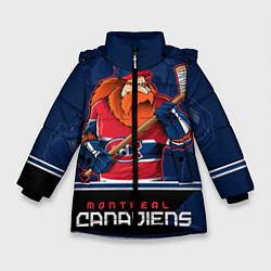 Детская зимняя куртка для девочки с принтом Montreal Canadiens, цвет: 3D-черный, артикул: 10106980106065 — фото 1