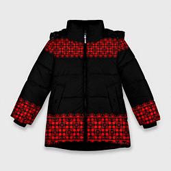 Куртка зимняя для девочки Славянский орнамент (на чёрном) цвета 3D-черный — фото 1