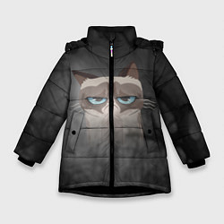 Куртка зимняя для девочки Grumpy Cat цвета 3D-черный — фото 1