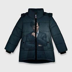 Куртка зимняя для девочки Шерлок в костюме цвета 3D-черный — фото 1