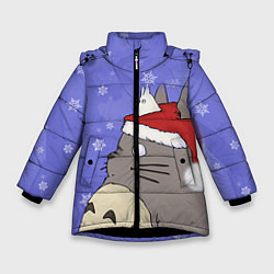 Куртка зимняя для девочки Тоторо и снег цвета 3D-черный — фото 1