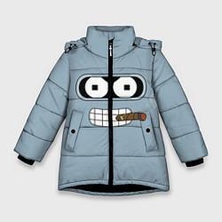 Детская зимняя куртка для девочки с принтом Лицо Бендера, цвет: 3D-черный, артикул: 10110983306065 — фото 1