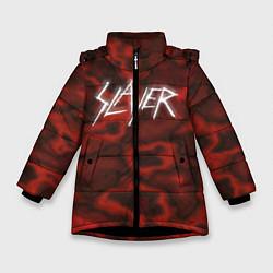 Детская зимняя куртка для девочки с принтом Slayer Texture, цвет: 3D-черный, артикул: 10112040806065 — фото 1