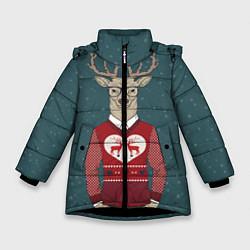 Куртка зимняя для девочки Олень хипстер цвета 3D-черный — фото 1