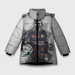 Детская зимняя куртка для девочки с принтом Lionel Messi, цвет: 3D-черный, артикул: 10113185306065 — фото 1