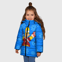 Куртка зимняя для девочки Новогодний Гомер цвета 3D-черный — фото 2