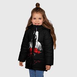 Куртка зимняя для девочки Мертвый боксер цвета 3D-черный — фото 2