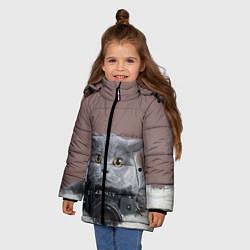 Куртка зимняя для девочки Котик фотограф цвета 3D-черный — фото 2