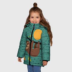 Куртка зимняя для девочки Довольный ленивец цвета 3D-черный — фото 2