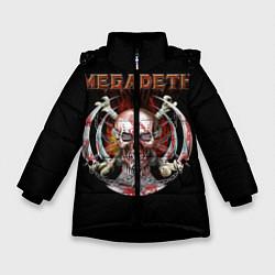 Детская зимняя куртка для девочки с принтом Megadeth: Skull in chains, цвет: 3D-черный, артикул: 10118376806065 — фото 1
