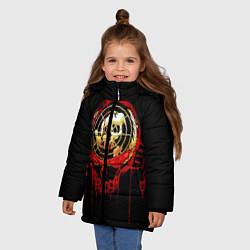 Детская зимняя куртка для девочки с принтом Megadeth: Blooded Aim, цвет: 3D-черный, артикул: 10120102706065 — фото 2