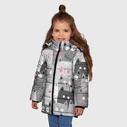 Куртка зимняя для девочки Котейки 2 цвета 3D-черный — фото 2
