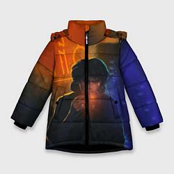 Куртка зимняя для девочки Виктор Цой в ночи цвета 3D-черный — фото 1