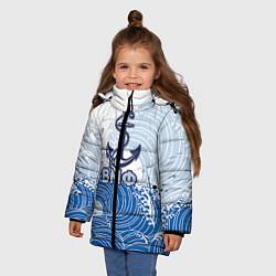 Куртка зимняя для девочки ВМФ: морские волны цвета 3D-черный — фото 2
