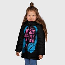 Детская зимняя куртка для девочки с принтом Музыка делает меня лучше, цвет: 3D-черный, артикул: 10126693406065 — фото 2