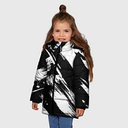 Куртка зимняя для девочки Чёрно-белый цвета 3D-черный — фото 2