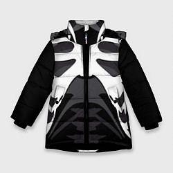 Куртка зимняя для девочки Скелет Ч/Б цвета 3D-черный — фото 1
