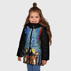 Детская зимняя куртка для девочки с принтом Dethklok: Heroes, цвет: 3D-черный, артикул: 10134389106065 — фото 2