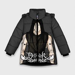 Детская зимняя куртка для девочки с принтом Dethklok Man, цвет: 3D-черный, артикул: 10134390706065 — фото 1
