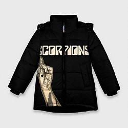 Детская зимняя куртка для девочки с принтом Scorpions Rock, цвет: 3D-черный, артикул: 10134452906065 — фото 1