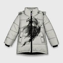 Детская зимняя куртка для девочки с принтом Дикий орел, цвет: 3D-черный, артикул: 10135213906065 — фото 1