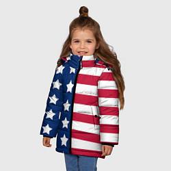 Куртка зимняя для девочки USA Flag цвета 3D-черный — фото 2